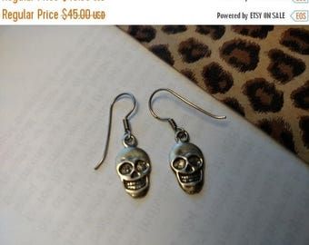 Memento Mori Steampunk Sterling Silver Goth Gothic Skull Earrings Day of the Dead Jewelry Halloween