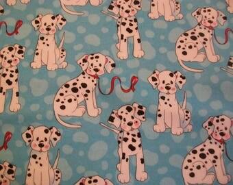 Dalmatians on Blue - Snuggle Flannel Fabric - BTY - Dalmatian Puppy Dog
