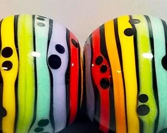 Rainbow Stripey Balls --Handmade Lampwork Beads