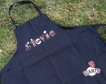 Custom SF Giants Apron!  You pick the name!  Black apron.  Licensed fabrics used.  Men or women!  Perfect for baking - BBQ - cooking!!