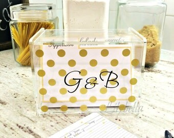 Personalized Recipe Box - Polka Dots  Recipe Box - Custom Recipe Box - Acrylic Recipe Box - Monogrammed Recipe Box - Recipe Storage Box