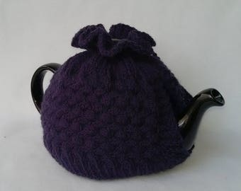 Cable Knit Teapot Cozy tea cosy, tea accessories wool cosy - cross cabling large in royal purple wool