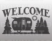Retro Camper Welcome Campsite Sign SVG File -Commercial & Personal Use- SVG File for Cricut,Silhouette Cameo,Heat Transfer vinyl,HTV
