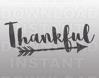 Feather Arrow Thankful SVG File,Thanksgiving SVG - Commercial & Personal Use - Vector Art for Cricut,Silhouette Cameo,Iron On Shirt Decal
