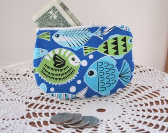 Tropical Fish Card Clutch Zipper Small Essential Oils Case Gift Card Holder  Made in the USA