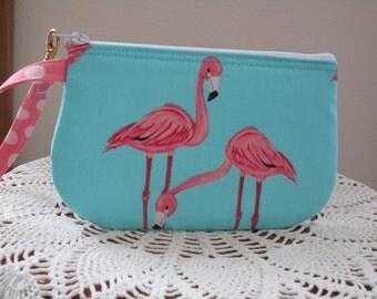 Smart phone Case Gadget Pouch Clutch Wristlet Zipper Gadget Pouch Funky  Flamingos