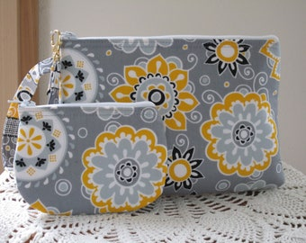 Dots in Funky Flowers in Gray Wedding Bridal Smart phone Case Gadget Pouch Clutch Wristlet Zipper Gadget Pouch Bag  Made in USA Set