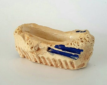 Carved Vessel with Blue