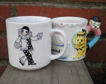 Vintage Circus Clown Lion Giraffe Big Top Mime Coffee Mugs / Cups Set of 2 Circa 1950s & 1980s - Retro Clowns Carnival Parade Kids Cup Gift