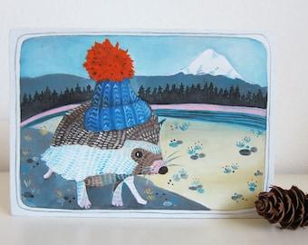Art - Painting - Hedgehog Painting - Original Painting - Oil Painting - Animal Art - Hedgehog Hat - Wall Art - Home Decor - Adventurer