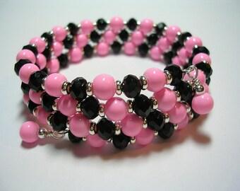 Pink and Black Bracelet Chandelier Earrings Memory Wire Bracelet Butterfly Earrings Triple Wrap Cuff Bracelet Leverback Hooks Gifts under 10