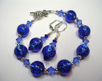 Sapphire Blue Bracelet Swarovski Crystal Bracelet Blue Lampwork Earrings Lampwork Bracelet Toggle Clasp Leverback Hooks Gifts under 10
