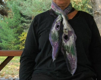 Purple & green butterfly wing felted wool scarf or wrap, woolen wet felted collectible scarf, winter clothing, designer accessories
