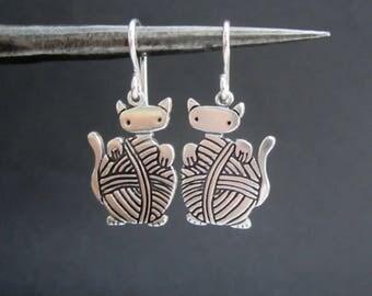 Knitting Cat Earrings - Sterling Silver Knitten Earrings