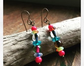 Colorful Glass Dangle Earrings