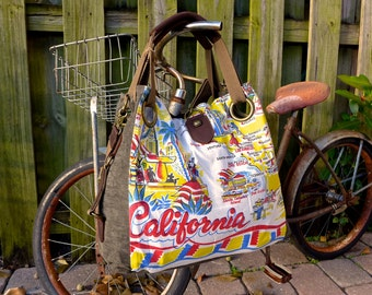 Vintage California tablecloth - Open Tote - Americana OOAK Canvas & Leather Tote... Selina Vaughan Studios