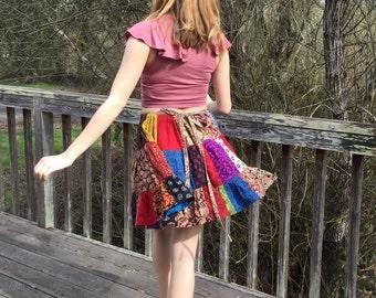 Mini Skirt, Patchwork, Indian print, Kalamkari, boho chic, steampunk, Handmade, Goth skirt, Twirly mini