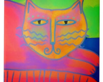 Hot PInk Cat Abstract Digital Painting Printed on Ceramic Tile