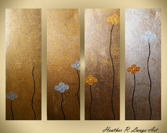 ORIGINAL Canvas Abstract Modern Home Decor Gold Wall Hanging Art Painting 4 Piece Flowers Silver Metallic Contemporary by Heather Lange
