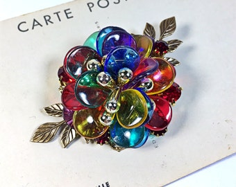Polly Upcycled vintage plastic earring Collage Brooch Pin colorful holiday