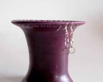 ON SALE Purple Earring Holder Stoneware Pottery Gift for Her Ready to Ship
