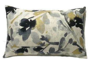 Decorative Lumbar Pillow Cover Floral Leaf Bud Design Gray Black Metallic Gold Taupe Toss Throw Accent Rayon Cotton Combo  12x18 inch