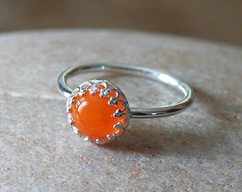 Vintage Tangerine Glass Stacking Ring Crown Gallery Princess Set, Sterling Silver Ring, Orange Princess Ring, Size 2 to 15.5, Solitaire Ring
