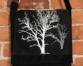 Sycamore and Walnut Tree Messenger Bag Black Corduroy 10 x 10