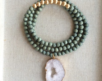 Ice and Olive long pendant necklace