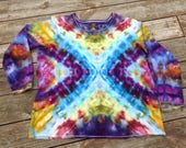 Womens 3X TShirt Long Sleeve Shirt Plus Size Tie Dye Size 26-28 Hippie Top Upcycled Shirt