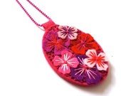 NEW YEAR SALE Days Of Summer Unique felt pendant necklace with hand embroidery on co-ordinating ball chain