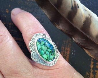 Monarch Opal and Sterling Fairy Queen Ring