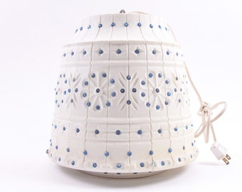 Vintage, 1960s, White, Hanging Lamp, Blue Jewels, Large Lamp, Light, Chandelier, Groovy ~ The Pink Room ~ 161212