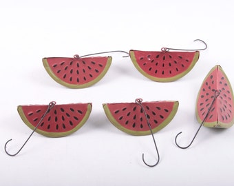 Watermelon, Christmas, Ornaments, Tree, Summer, Decoration, Bells, Set of Five ~ The Pink Room ~ 170117