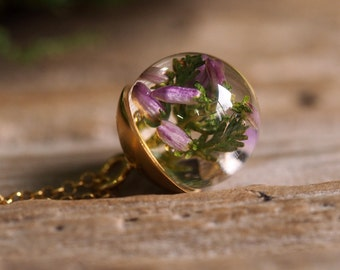 Mini Heather Pendant, Gold Plated Silver Pendant, Resin Jewellery, Botanical Necklace, Romantic Jewelry