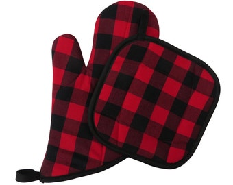 Buffalo Plaid Oven Mitt and Pot Holder Set