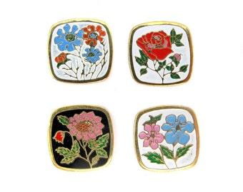 Assortment of Vintage Cloisonne Enamel Flower Cabochon Findings (8X) (E577)