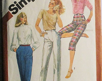 1980s Vintage Sewing Pattern Simplicity 5148 Misses Pants Pattern in Three Lengths Size 10