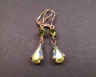 Rhinestone Drop Earrings, Iridescent and Olive Green, Brass Dangle Earrings, FREE Shipping U.S.