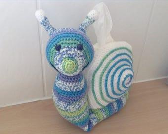 Tissue Box Cover, Tissue Dispenser, Snail, Crocheted Snail
