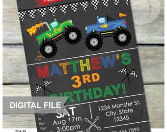 "Monster Truck Birthday Invitation Chalkboard Party Invitation - 5"" x 7"" Digital Printable Invite"