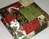 "CHRISTMAS Quilt 57"" x 75"", green, red, b lack metallic  Cozy Cuddle backing ready to ship ON SALE"