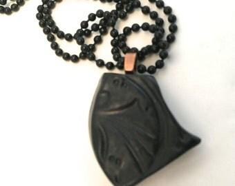 Pendant Stoneware Ceramic Black Satin Great Stocking Stuffer Ready to Ship PNT0015