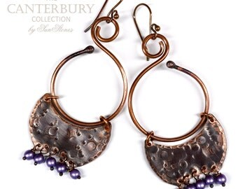 Hammered Rustic Copper Earrings, Gypsy, Boho E985 - The Canterbury Collection