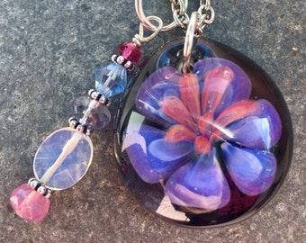 Glass Flower Pendant Boro Lily Lampwork Self Care