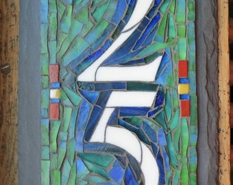 Vertical Mosaic House Number with 2 Digits on Slate 6x12 inches