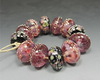 HANDMADE LAMPWORK Glass Beads artisan made beads lampwork focal bead lampwork earrings lampwork bracelet donna millard pink rose cranberry