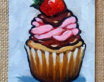 ACEO Original, Cupcake Painting, Tiny Art, Food Art, Cupcake With Pink Icing, Strawberry, Confections, Sweet, Baking