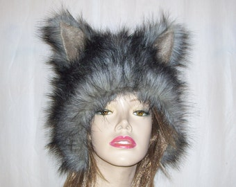 Furry Wolf Hat Ears Gray Black Tipped Wolf-like Faux Fur Shaman Adult Fetish Costume Christmas Gift Winter Ski Hat