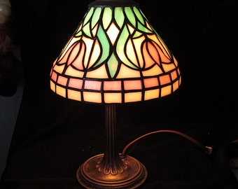 Miniature Stained Glass Lamp Stylized Tulip